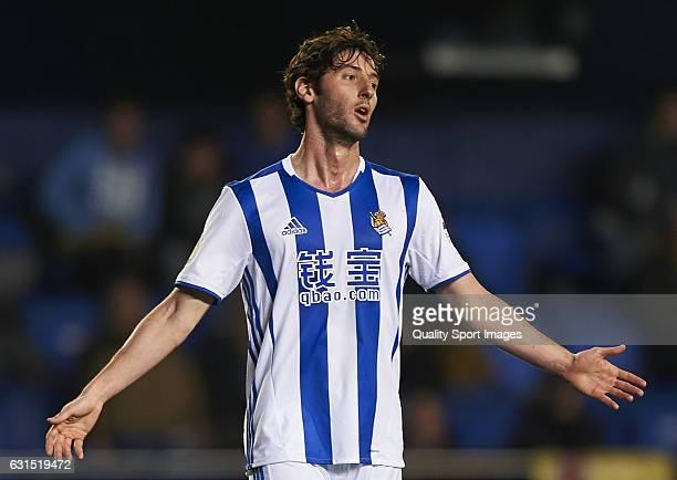 Esteban Granero of Real Sociedad reacts during the Copa del Rey Round of 16 second leg match between Villarreal CF and Real Sociedad at Estadio de la...