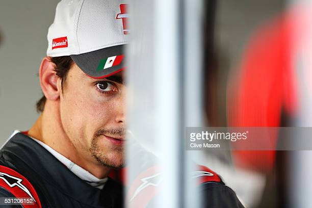 Esteban Gutierrez of Mexico and Haas F1 in the garage during practice for the Spanish Formula One Grand Prix at Circuit de Catalunya on May 13 2016...