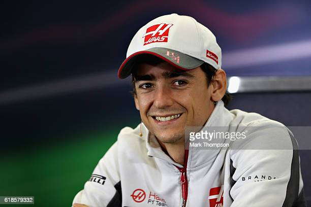Esteban Gutierrez of Mexico and Haas F1 talks in the Drivers Press Conference during previews to the Formula One Grand Prix of Mexico at Autodromo...