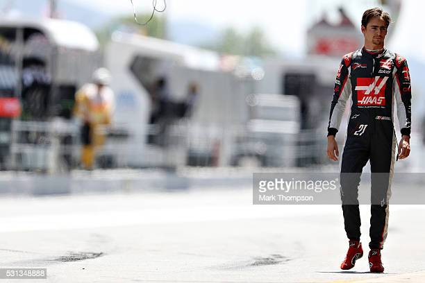 Esteban Gutierrez of Mexico and Haas F1 walsk in the Pitlane during qualifying for the Spanish Formula One Grand Prix at Circuit de Catalunya on May...