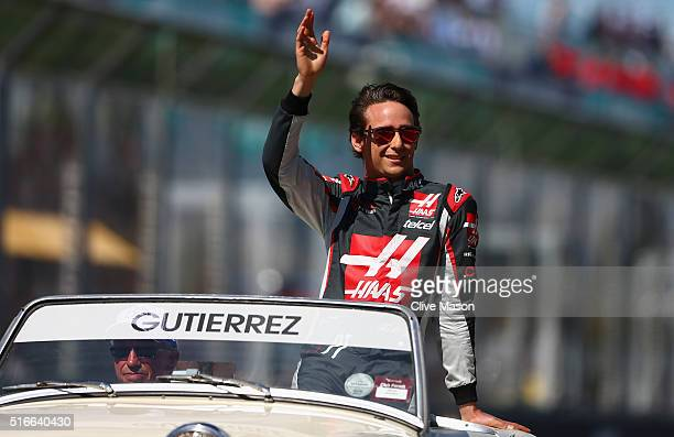 Esteban Gutierrez of Mexico and Haas F1 waves to the crowd on drivers parade ahead of the Australian Formula One Grand Prix at Albert Park on March...