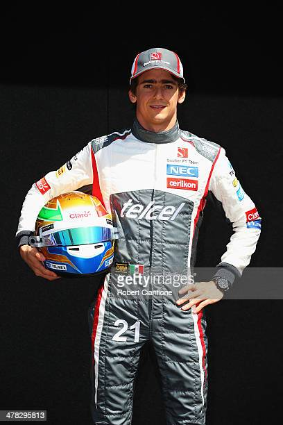 Esteban Gutierrez of Mexico and Sauber F1 attends the drivers portrait session during previews to the Australian Formula One Grand Prix at Albert...
