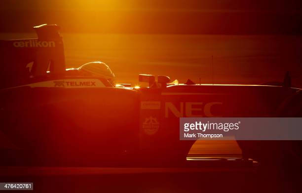 Esteban Gutierrez of Mexico and Sauber F1 drives during day four of Formula One Winter Testing at the Bahrain International Circuit on March 2 2014...