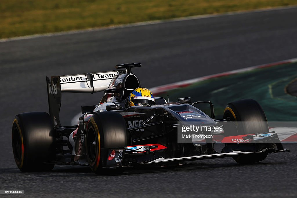 Esteban Gutierrez of Mexico and Sauber F1 drives during day one of Formula One winter test at the Circuit de Catalunya on February 28, 2013 in Montmelo, Spain.