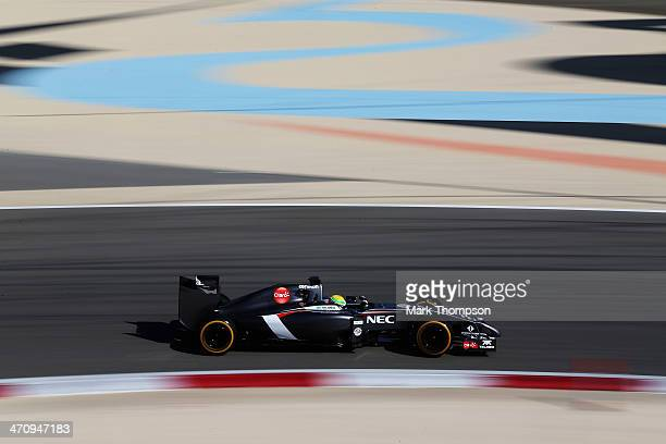 Esteban Gutierrez of Mexico and Sauber F1 drives during day three of Formula One Winter Testing at the Bahrain International Circuit on February 21,...