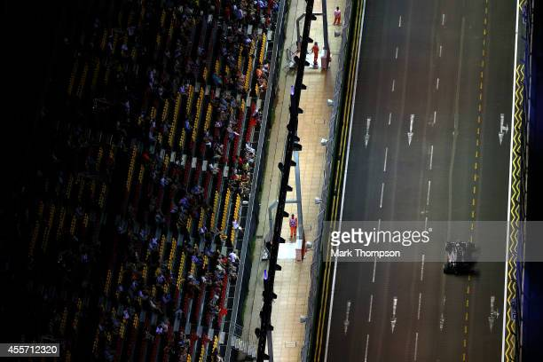 Esteban Gutierrez of Mexico and Sauber F1 drives during practice ahead of the Singapore Formula One Grand Prix at Marina Bay Street Circuit on...