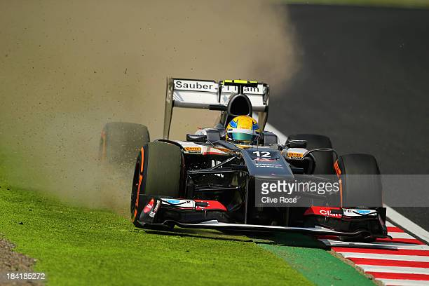 Esteban Gutierrez of Mexico and Sauber F1 runs wide during the final practice session prior to qualifying for the Japanese Formula One Grand Prix at...