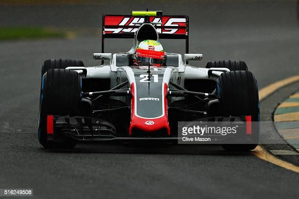 Esteban Gutierrez of Mexico drives the Haas F1 Team Haas-Ferrari VF-16 Ferrari 059/5 turbo on track during practice ahead of the Australian Formula...