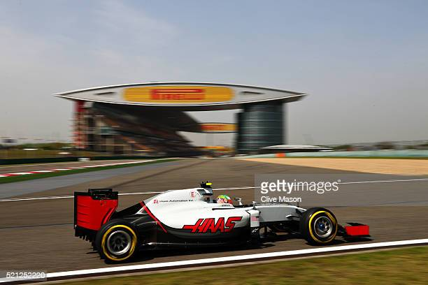Esteban Gutierrez of Mexico driving the Haas F1 Team HaasFerrari VF16 Ferrari 059/5 turbo on track during practice for the Formula One Grand Prix of...