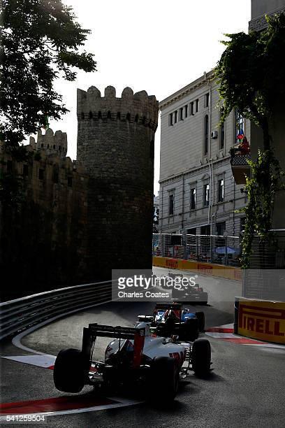 Esteban Gutierrez of Mexico driving the Haas F1 Team HaasFerrari VF16 Ferrari 059/5 turbo on track during the European Formula One Grand Prix at Baku...