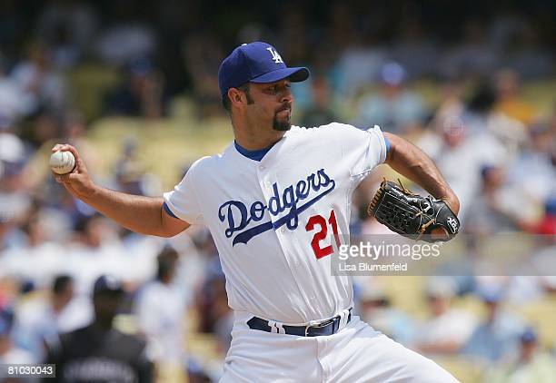 Esteban Loaiza of the Los Angeles Dodgers pitches against the Colorado Rockies at Dodger Stadium on April 27 2008 in Los Angeles California