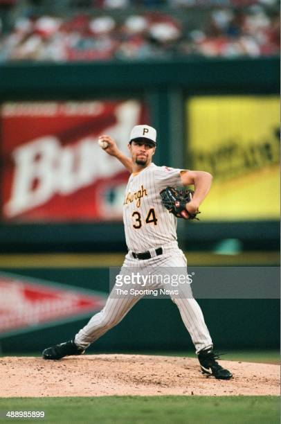 Esteban Loaiza of the Pittsburgh Pirates pitches against the St Louis Cardinals at Busch Stadium on July 3 1997 in St Louis Missouri The Pirates...