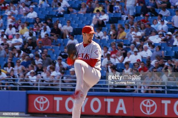 Esteban Loaiza of the Texas Rangers pitches against the Chicago White Sox at Comiskey on August 15 1999 in Chicago Illinois The Rangers defeated the...