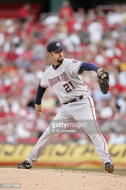 Esteban Loaiza of the Washington Nationals pitches against the St Louis Cardinals at Busch Stadium in St Louis Mo on May 28 2005 St Louis won 31