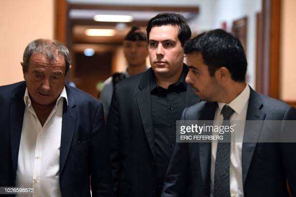 Esteban Morillo one of the three ultraright wing activists involved in the death of Clement Meric an antifa protester arrives at Paris courthouse...