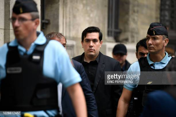 Esteban Morillo one of the three ultraright wing activists involved in the death of Clement Meric an antifa protester arrives at Paris courthouse on...