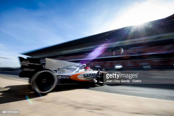 Esteban Ocon of Force India Team driving his car during the Formula One Winter tests on March 9 2017 in Barcelona Spain