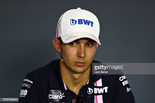 Esteban Ocon of France and Force India looks on in the Drivers Press Conference during previews ahead of the Formula One Grand Prix of Italy at...