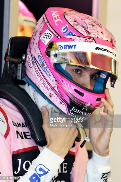 Esteban Ocon of France and Force India prepares to drive during final practice for the Formula One Grand Prix of Hungary at Hungaroring on July 29...
