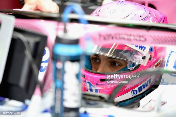 Esteban Ocon of France and Force India prepares to drive in the garage during practice for the Formula One Grand Prix of Italy at Autodromo di Monza...