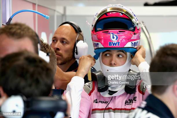 Esteban Ocon of France and Force India prepares to drive in the garage during practice for the Formula One Grand Prix of Singapore at Marina Bay...