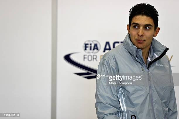 Esteban Ocon of France and Manor Racing waits for the drivers parade before the Formula One Grand Prix of Brazil at Autodromo Jose Carlos Pace on...