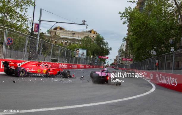 Esteban Ocon of France and Sahara Force India driver's crash during the race at Azerbaijan Formula 1 Grand Prix on Apr 29, 2018 in Baku, Azerbaijan.