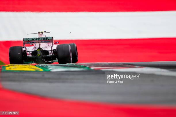 Esteban Ocon of France and Sahara Force India during qualifying for the Formula One Grand Prix of Austria at Red Bull Ring on July 8, 2017 in...