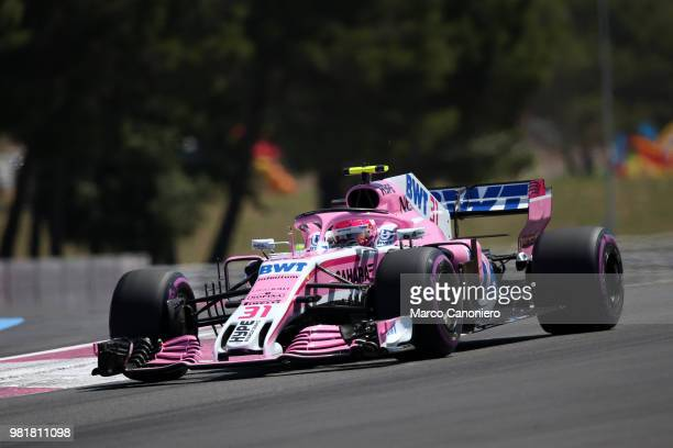 Esteban Ocon of France and Sahara Force India F1 Team on track during practice for the Formula One Gran Prix de France