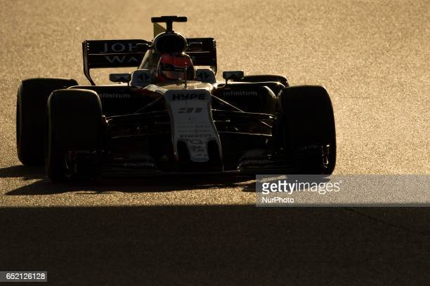 Esteban Ocon of France driving the Sahara Force India F1 Team VJM10 in action during the Formula One winter testing at Circuit de Catalunya on March...