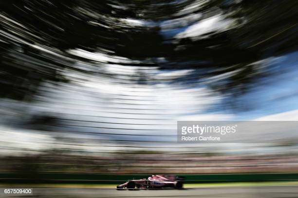 Esteban Ocon of France driving the Sahara Force India F1 Team VJM10 on track during final practice for the Australian Formula One Grand Prix at...