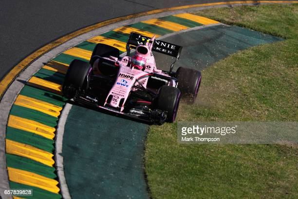 Esteban Ocon of France driving the Sahara Force India F1 Team VJM10 goes wide during the Australian Formula One Grand Prix at Albert Park on March 26...