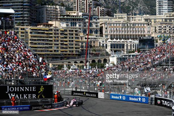 Esteban Ocon of France driving the Sahara Force India F1 Team VJM10 on track during the Monaco Formula One Grand Prix at Circuit de Monaco on May 28...
