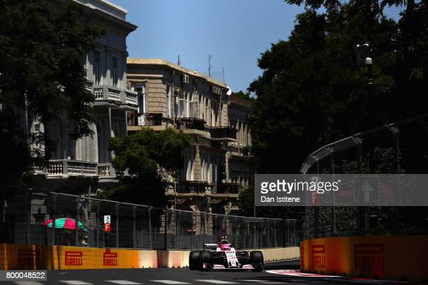 Esteban Ocon of France driving the Sahara Force India F1 Team VJM10 on track during practice for the European Formula One Grand Prix at Baku City...