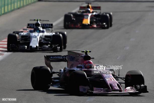Esteban Ocon of France driving the Sahara Force India F1 Team VJM10 on track during the Azerbaijan Formula One Grand Prix at Baku City Circuit on...