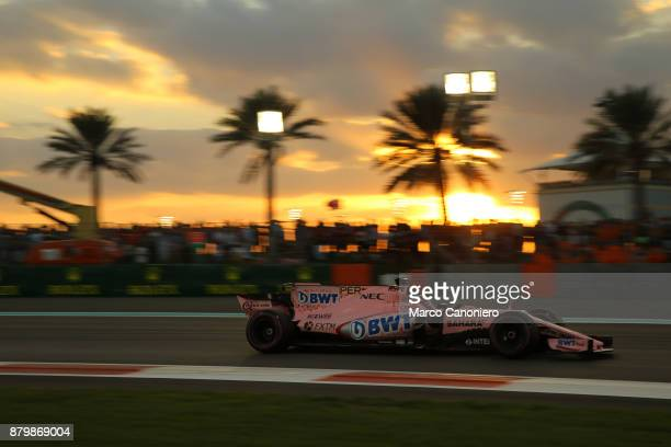 Esteban Ocon of France driving the Sahara Force India F1 Team VJM10 on track during the Abu Dhabi Formula One Grand Prix