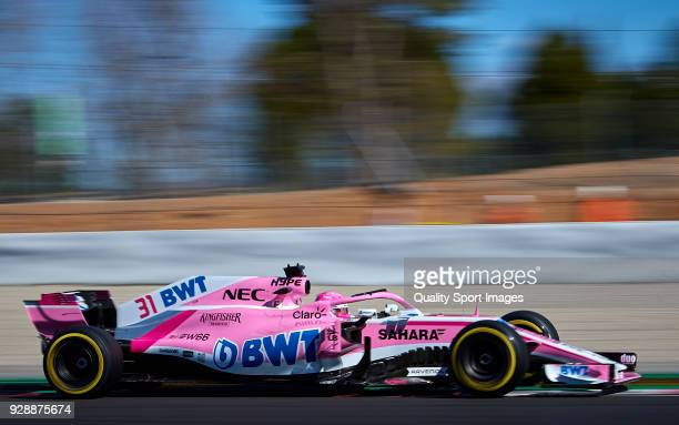 Esteban Ocon of France driving the Sahara Force India F1 Team VJM11 Mercedes during day two of F1 Winter Testing at Circuit de Catalunya on March 7...