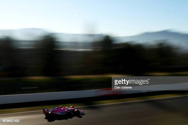 Esteban Ocon of France driving the Sahara Force India F1 Team VJM11 Mercedes on track during day four of F1 Winter Testing at Circuit de Catalunya on...