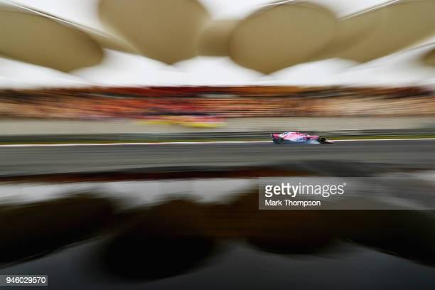 Esteban Ocon of France driving the Sahara Force India F1 Team VJM11 Mercedes locks a wheel under braking during final practice for the Formula One...