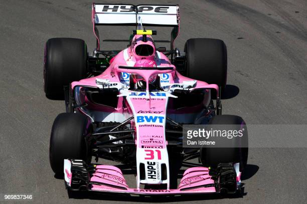 Esteban Ocon of France driving the Sahara Force India F1 Team VJM11 Mercedes on track during practice for the Canadian Formula One Grand Prix at...
