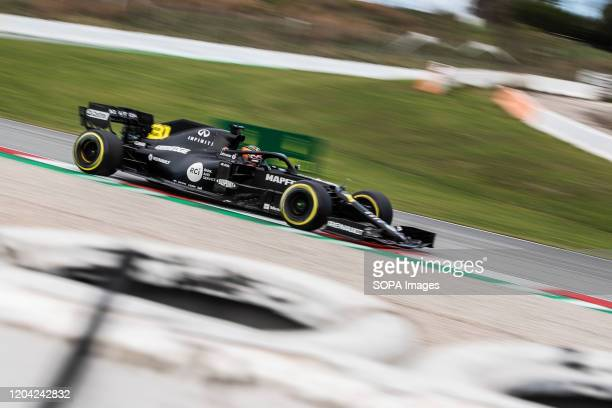 Esteban Ocon participates in the tests for the new season of the Formula One Grand Prix at the Circuit de Catalunya in Montmelo
