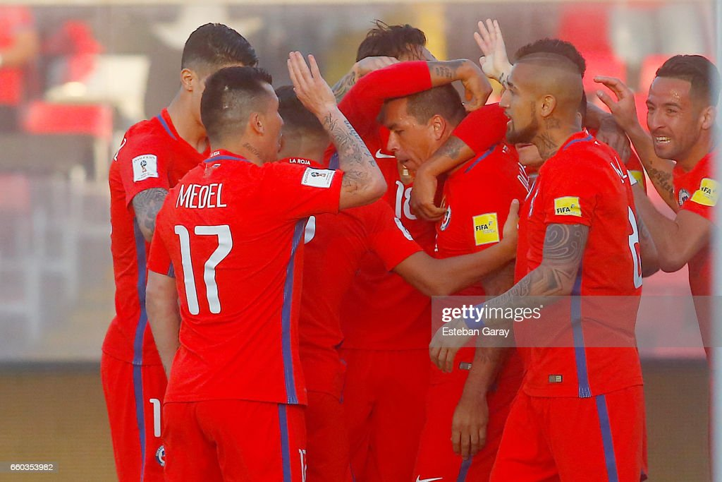Esteban Paredes of Chile celebrates after scoring the second goal of his team during a match between Chile and Venezuela as a part of FIFA 2018 World Cup Qualifier at Monumental Stadium on March 28, 2017, in Santiago, Chile.