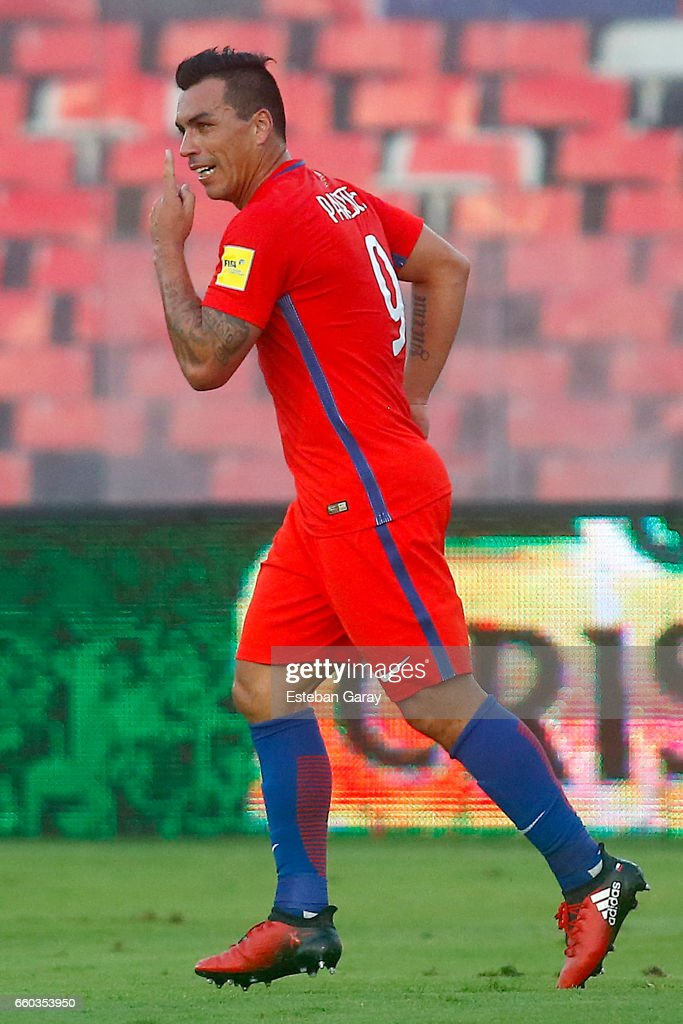 Esteban Paredes of Chile celebrates after scoring the third goal of his team during a match between Chile and Venezuela as a part of FIFA 2018 World Cup Qualifier at Monumental Stadium on March 28, 2017, in Santiago, Chile.