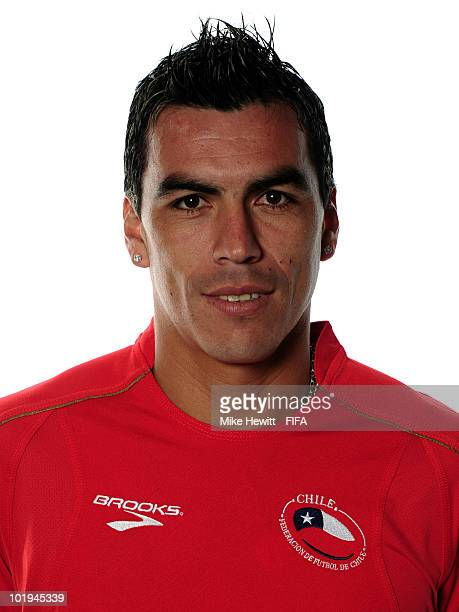 Esteban Paredes of Chile poses during the official FIFA World Cup 2010 portrait session on June 8 2010 in Nelspruit South Africa