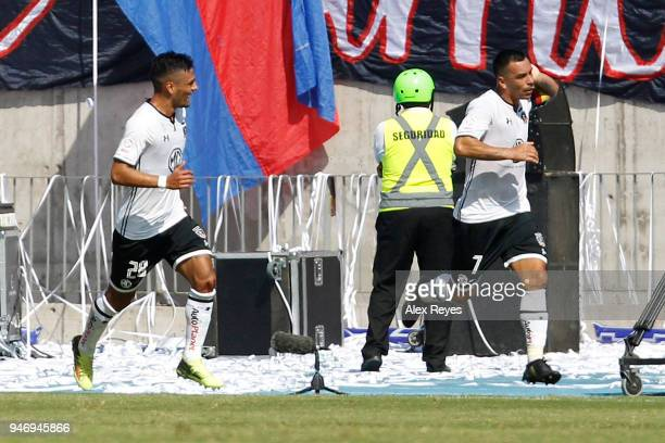 Esteban Paredes of Colo Colo celebrates after scoring the first goal of his team during a match between U de Chile and Colo Colo as part of Torneo...