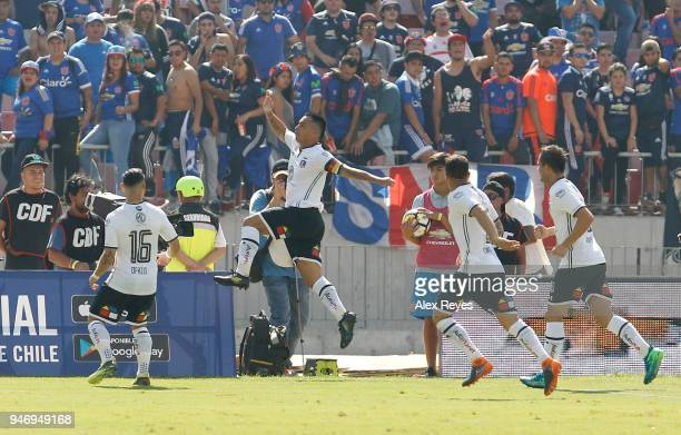 Esteban Paredes of Colo Colo celebrates after scoring the second goal of his team during a match between U de Chile and Colo Colo as part of Torneo...