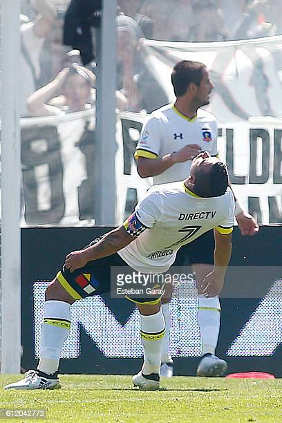 Esteban Paredes of Colo Colo reacts during a match between Colo Colo and Universidad de Chile as part of round 8 of Torneo Apertura 2016 at...