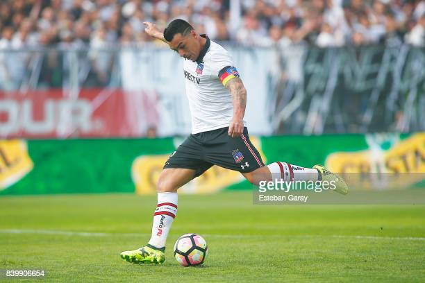 Esteban Paredes of ColoColo kicks the ball during a match between ColoColo and U de Chile as part of Torneo Transicion 2017 at Monumental Stadium on...