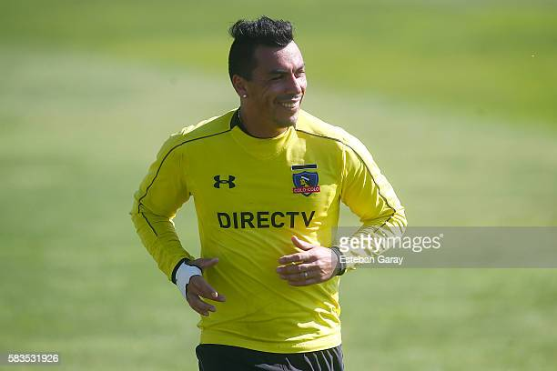 Esteban Paredes smiles during a Colo Colo training session at Monumental Stadium on July 26 2016 in Santiago Chile