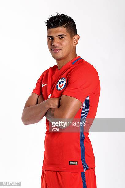 Esteban Pavez of Chile poses during the team presentation ahead of the 2017 Gree China Cup International Football Championship on January 9 2017 in...